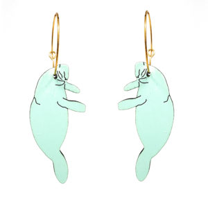 Manatee hoop mint Le Chic Miami Earrings