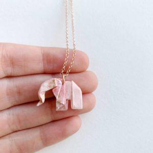 collar-elefante-origami-rosa-oro-rosa
