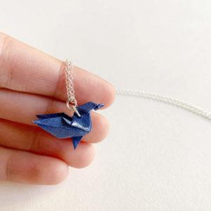 papirogems-collar-colibri-origami-azul-plata
